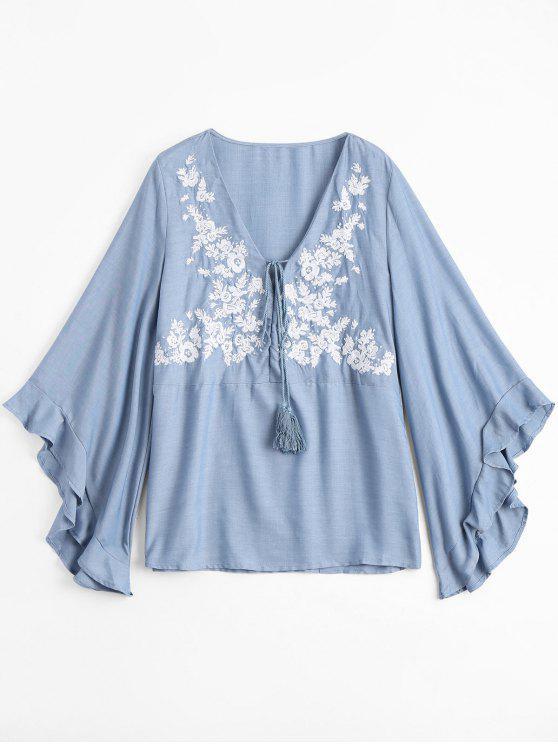 Blusa floral bordada floral de Chambray de la túnica - Azul Claro L