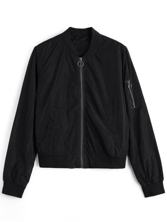 women Zipper Plain Bomber Jacket - BLACK M