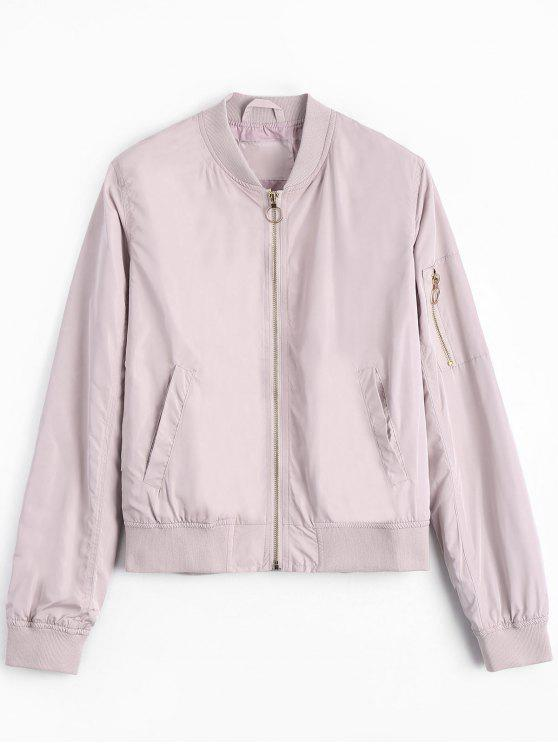 best Zipper Plain Bomber Jacket - PINK M