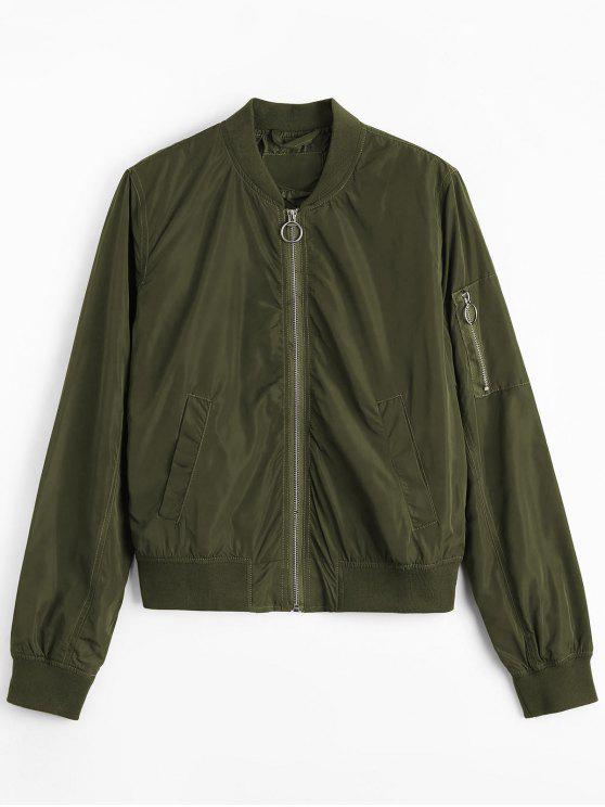 Zipper Plain Bomber Jacket - Verde M