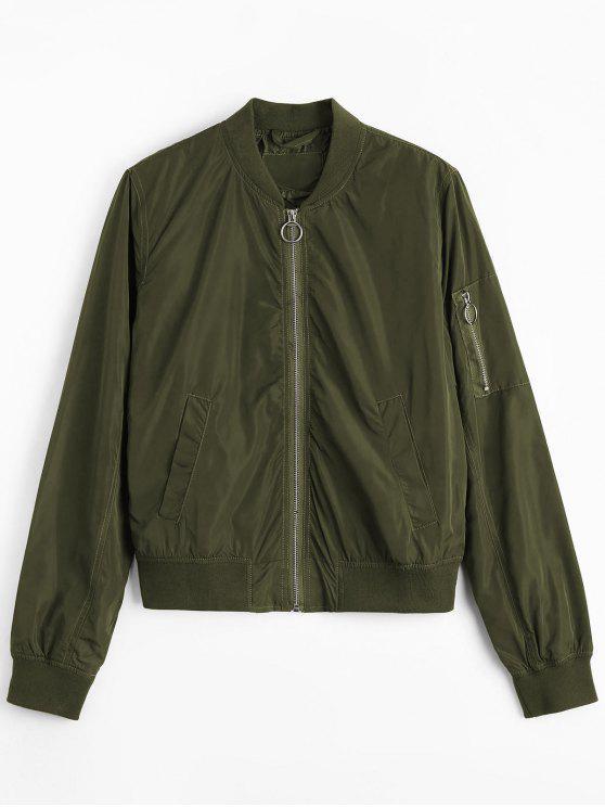 trendy Zipper Plain Bomber Jacket - ARMY GREEN S
