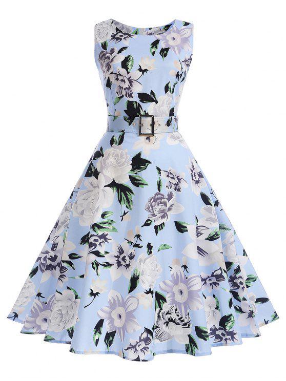 فستان توهج طباعة الأزهار كلاسيكي - السماء الزرقاء 2XL