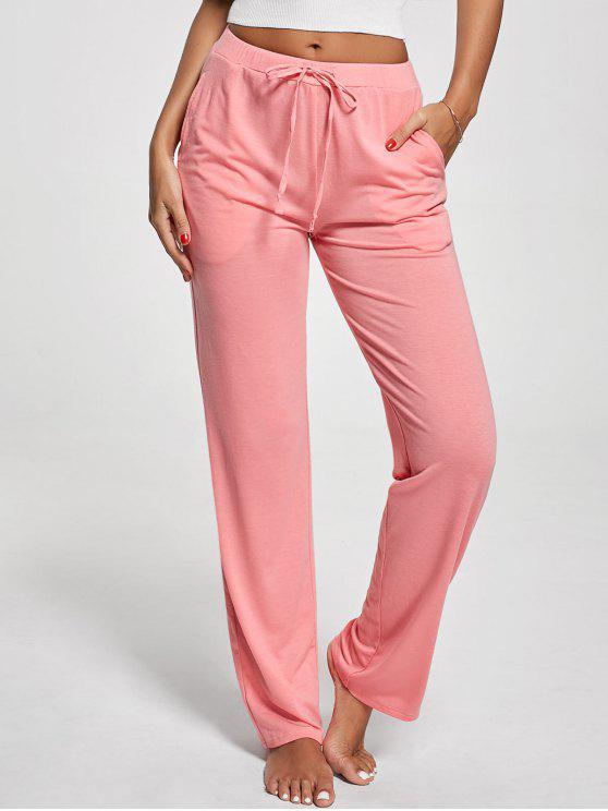 Calças de drawstring verticais de bolso - Rosa L