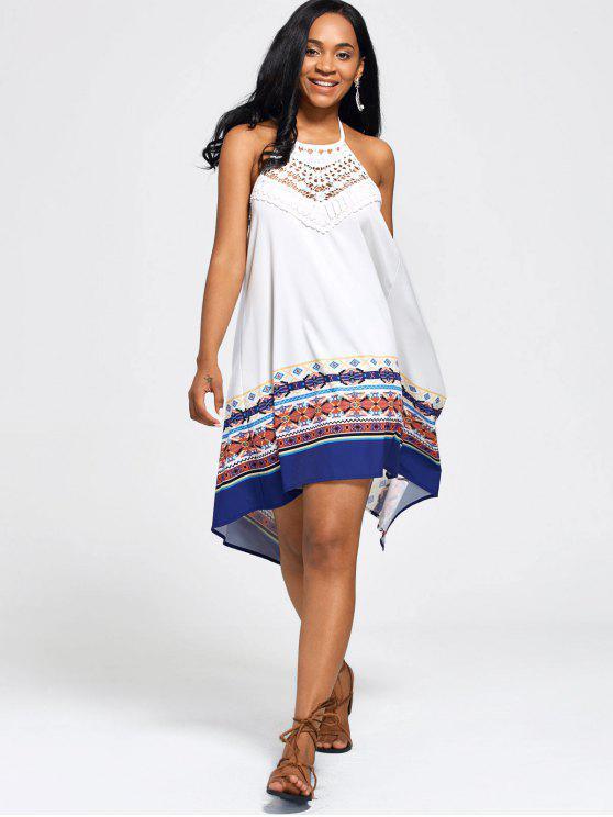فستان الصيف بوهو رسن الرقبة سوينغ عارية الظهر - أبيض S