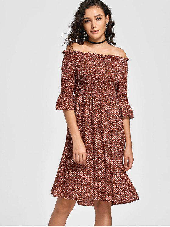 Tiny Floral Smocked Off Shoulder - Robe Midi - Café S
