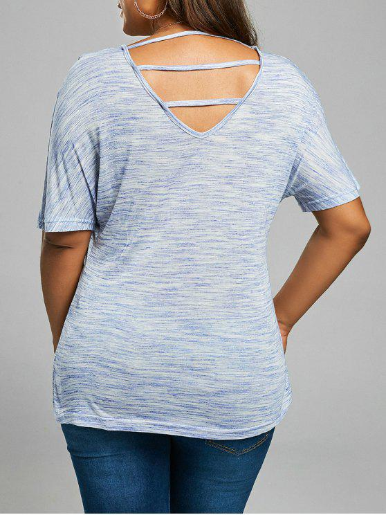 affordable Back Cutout Plus Size V Neck Tee shirt - BLUE GRAY 4XL