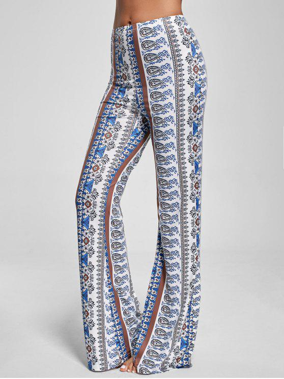 8cfab6d0dd 31% OFF] 2019 Bohemian Paisley Print Flare Pants In WHITE | ZAFUL