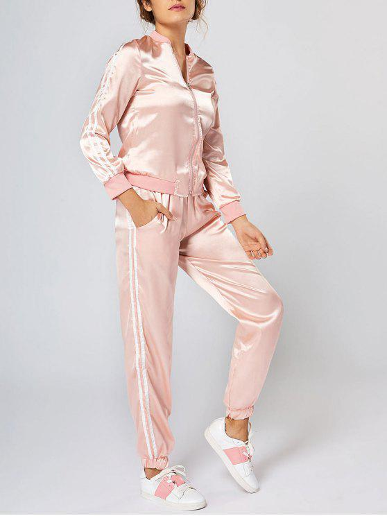 womens Zippered Long Sleeve Striped Two Piece Suit - PINK S