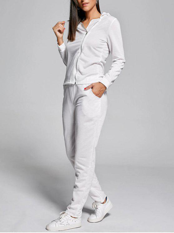 b76c08336 2019 Long Sleeve Zip Up Two Piece Tracksuit In WHITE L