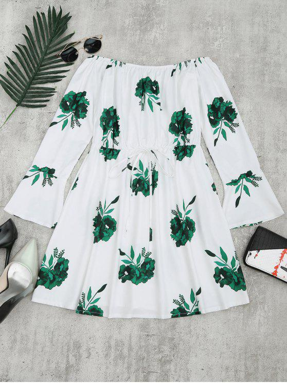 lady Floral Print Long Sleeve Dress - GREEN L