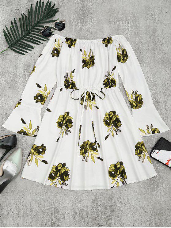 فستان طباعة الأزهار طويلة الأكمام - الأصفر XL
