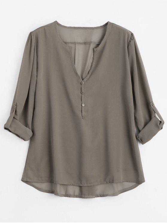 V Neck Button Blusa Embellished - Café Claro L
