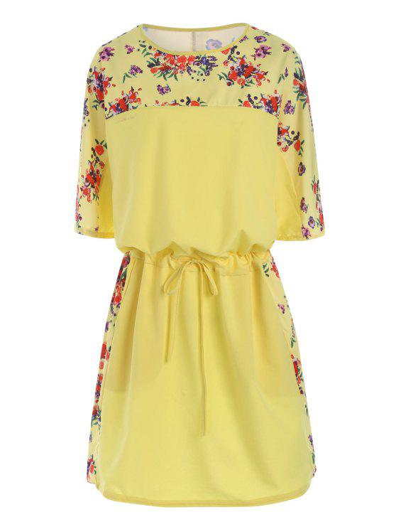 2018 Floral Plus Size Drawstring Blouson Dress In Yellow 4xl Zaful