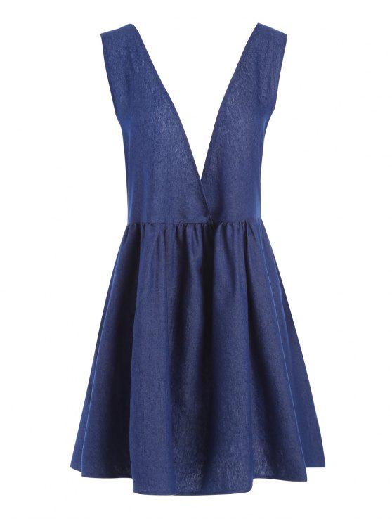 42% OFF] 2019 Chambray Lace Up Plus Size Pinafore Dress In BLUE | ZAFUL