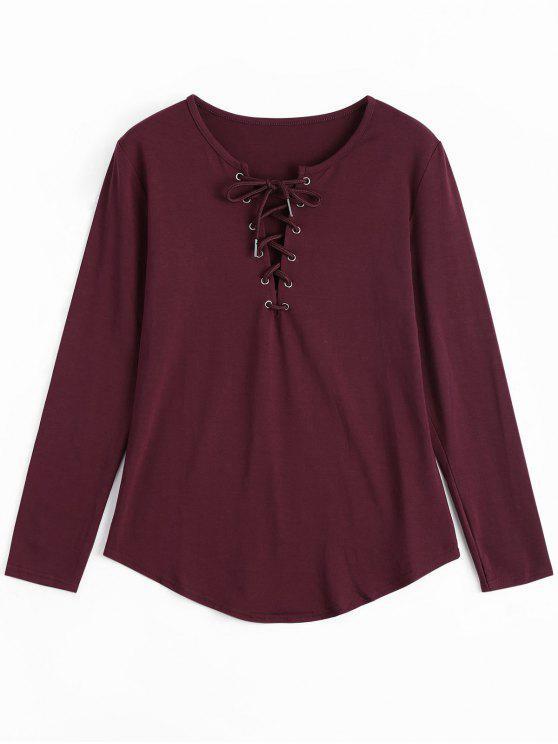 Ate la camiseta larga de la zambullida de la manga - Vino Rojo XL