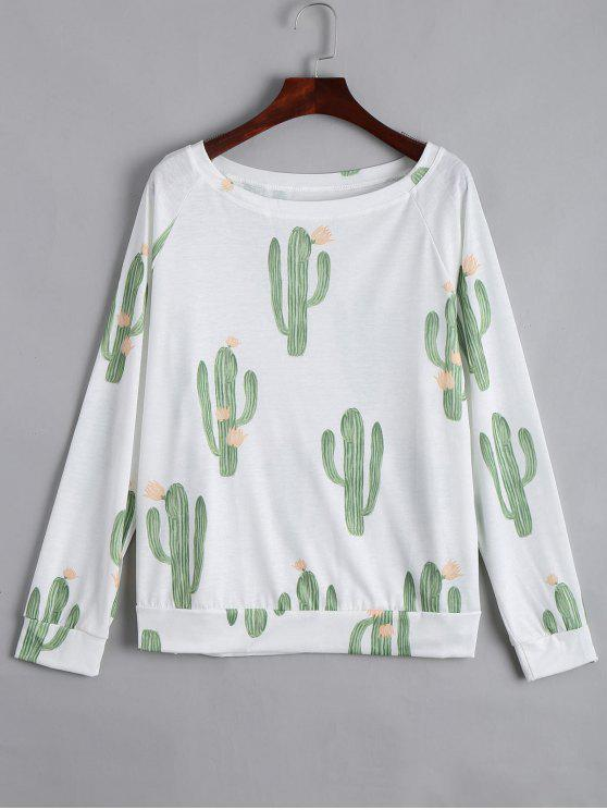 outfits Boat Neck Cacti Print Long Sleeve Tee - WHITE L