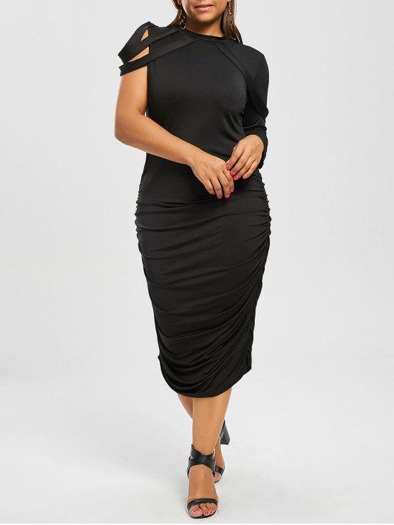 Plus Size One Sleeve Ruched Sheath Club Dress BLACK