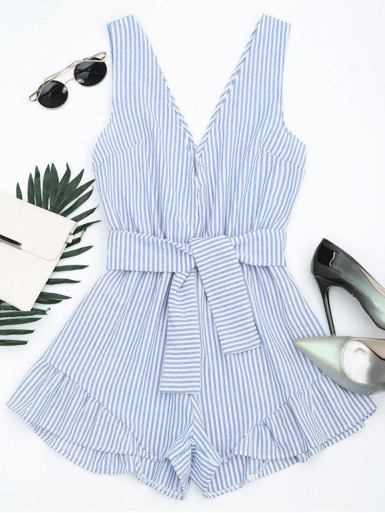 chic Plunging Neck Belted Striped Romper - BLUE STRIPE M