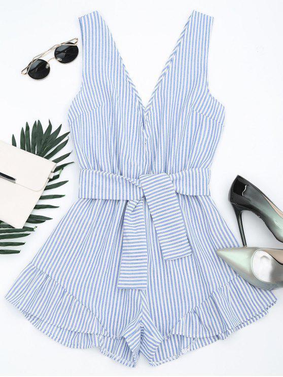 fancy Plunging Neck Belted Striped Romper - BLUE STRIPE L