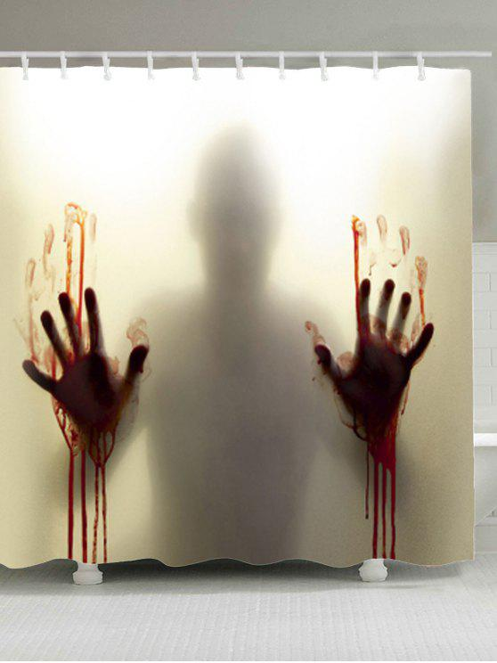 Blood Hand Shadow Printed Waterproof Polyester Shower Curtain