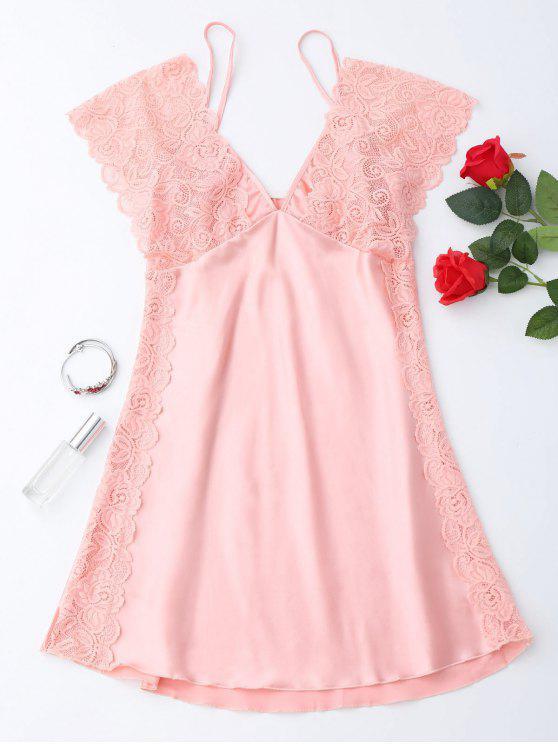 Mini Schlafkleid aus Satin mit Spitze - Pink S