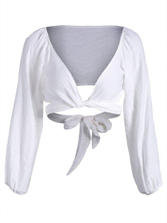 women Self Tie Plunging Neck Crop Blouse - WHITE L