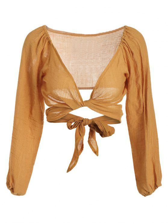 lady Self Tie Plunging Neck Crop Blouse - MUSTARD XL