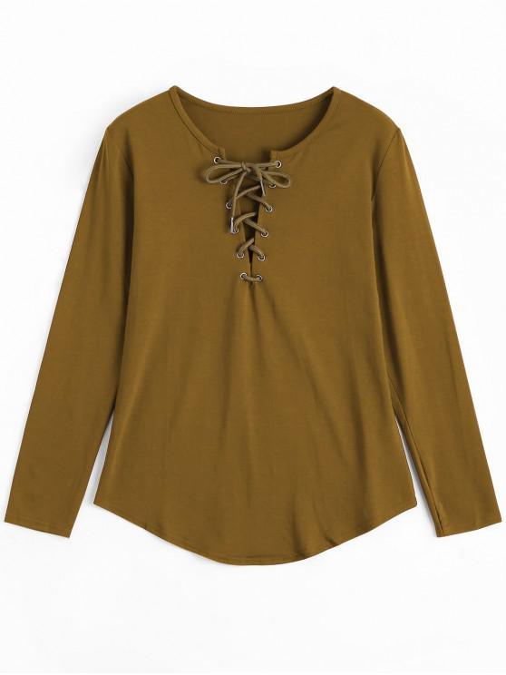 Schnürung Langarm Plunge T-Shirt - Khaki M