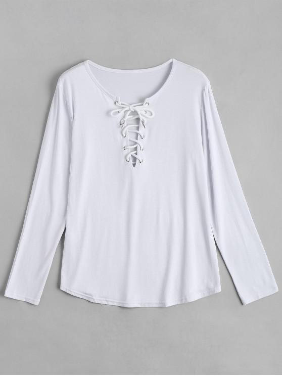 affordable Lace Up Long Sleeve Plunge Tee - WHITE S