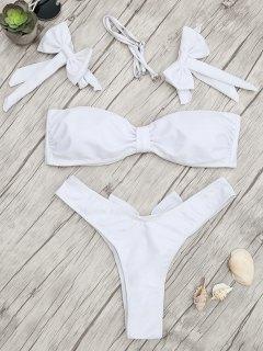 Padded Bow Bandeau Thong Bikini Set - White S