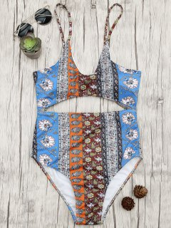 Cutout Patchwork Print One Piece Swimsuit - Floral L