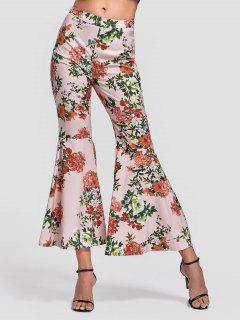 Side Zip Floral Bell Bottom Pants - Floral S