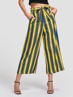 Belted Striped Wide Leg Pants - Stripe S