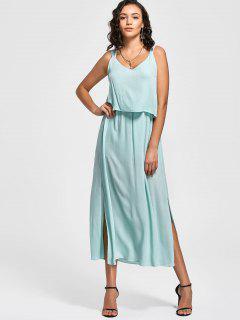 Overlay Bowknot Slit Maxi Dress - Light Blue M