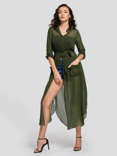 Slit Belted Half Buttoned Maxi Dress - Army Green M