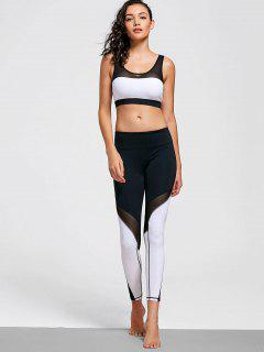 Mesh Insert Stretchy Color Block Gym Suit - White And Black M