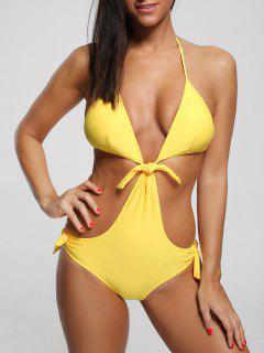 One Piece Cut Out Halter Swimwear - Yellow L