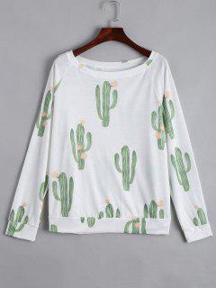 Boat Neck Cacti Print Long Sleeve Tee - White S