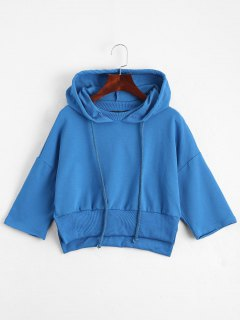 Casual Slit Cropped Hoodie - Blue S