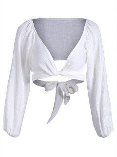 Blusa De Cuello Con Cuello De Plumas - Blanco Xl