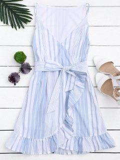 Belted Stripes Ruffles Slip Dress - Stripe L
