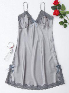Side Slit Lustrous Satin Slip Dress - Gray L
