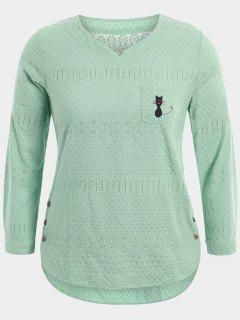 Cartoon Embroidered Plus Size Blouse With Pocket - Light Green 3xl