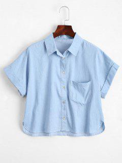 Graphic Button Down Shirt With Pocket - Light Blue Xl