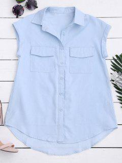 Sleeveless Button Down Shirt With Pockets - Light Blue S
