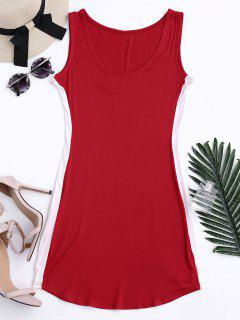 Sports Two Tone Bodycon Dress - Red Xl