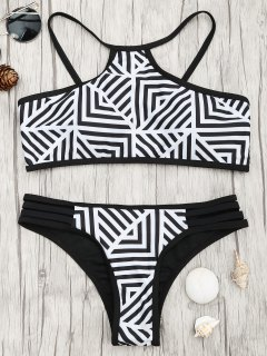 Padded Stripe Print Bikini Set - White And Black L