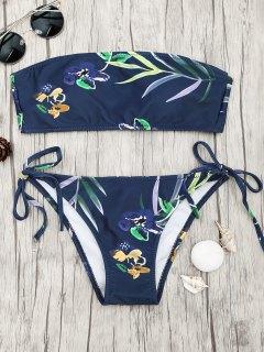 Tropical Print Bandeau Bikini Set - Navy Blue M