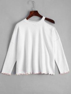Weiter Kalte Schulter Pullover Mit Rüschen - Weiß S