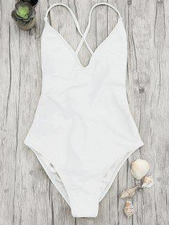 V Neck High Cut One Piece Swimsuit - White L